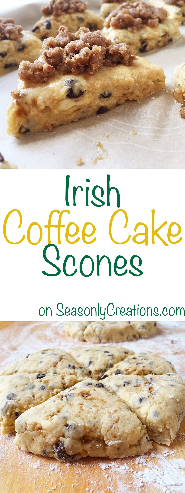 Irish Coffee Cake Scone recipe, a great option for St. Patricks Day or anytime you need a sweet tooth fix! PLUS, there's a FREE Printable Recipe and Resource List for your scone making project. Click through for the full recipe and for your free printable! | SeasonlyCreations... | @SeasonlyBlog