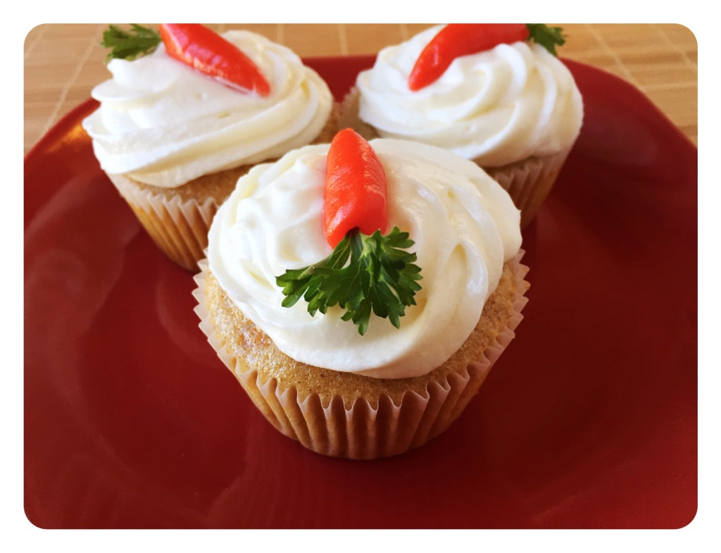 Carrot Cake Cupcakes with Orange Frosting