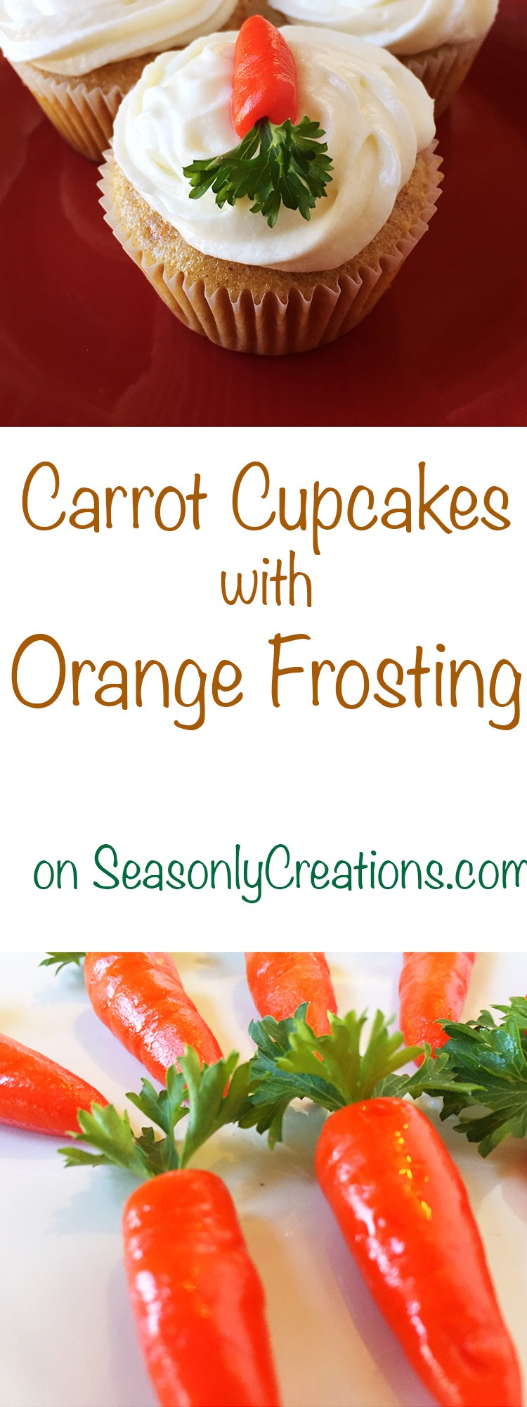Carrot Cupcakes With Orange Icing Recipe — Dishmaps