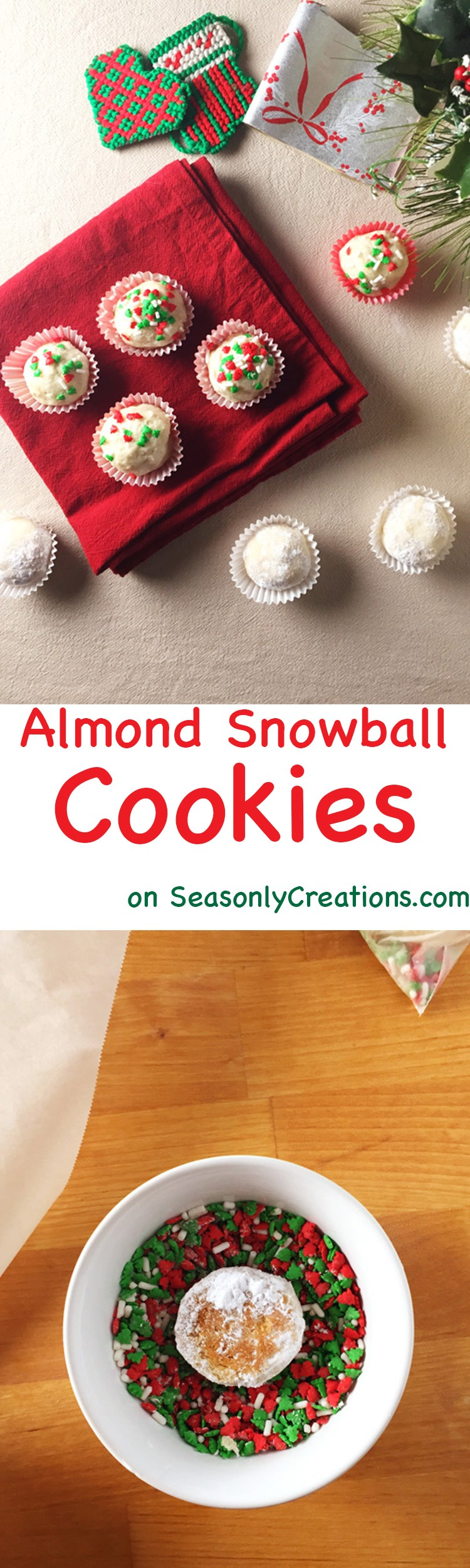 Almond Snowball Cookie recipe, a perfect Christmas cookie option! These cookies only take about 10 minutes to bake, are freezable and make great DIY food gifts for the holidays. Click through for the full cookie recipe and give the gift of your time and creativity with these super cute Almond Snowball Cookies | SeasonlyCreations.com | @SeasonlyBlog