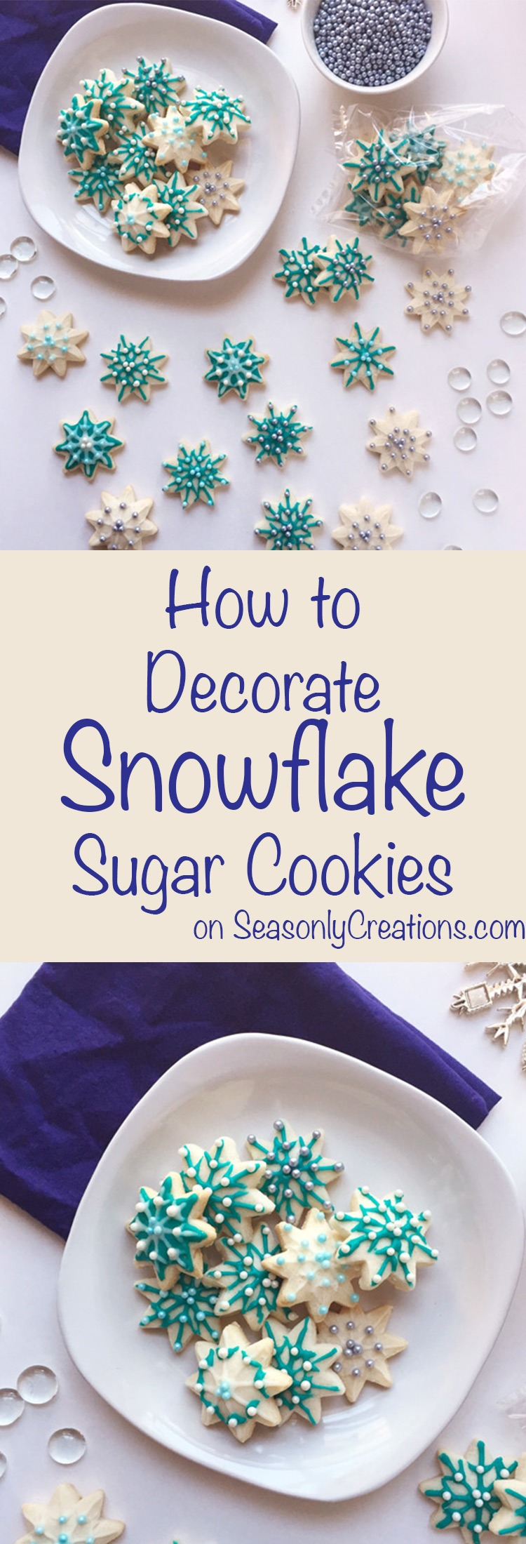 How to Decorate Snowflake Sugar Cookies. A complete step-by-step guide to decorating your own elegant snowflake sugar cookies. This is a great DIY holiday project and these make wonderful food gifts (psst, they're freezable!). Click through for the full decorating tutorial! | SeasonlyCreations.com | @SeasonlyBlog