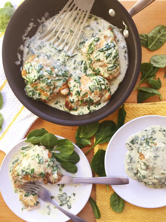 Baked Chicken Thighs With Creamy Garlic Spinach Sauce Seasonly Creations