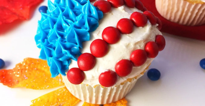 Election Day Cupcakes. This Election Day Cupcake recipe with fluffy white buttercream frosting is sure to impress your friends on election night! And election day sweet snack that crosses party lines and will keep you going beyond the late night results. Click through for the full recipe and step-by-step photos! | SeasonlyCreations.com | @SeasonlyBlog