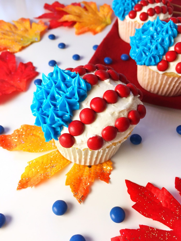 Election Day Cupcakes with White Buttercream Frosting