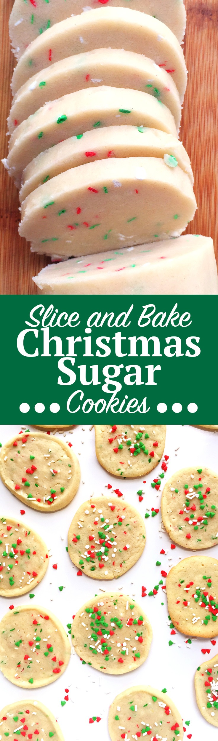 Slice and Bake Christmas Sugar Cookies. This no-roll, easy Christmas Sugar Cookie recipe is simply slice and bake, no messy flour surfaces needed! Add this to your holiday sugar cookie recipe collection ASAP and click through for the full recipe! | SeasonlyCreations.com | @SeasonlyBlog
