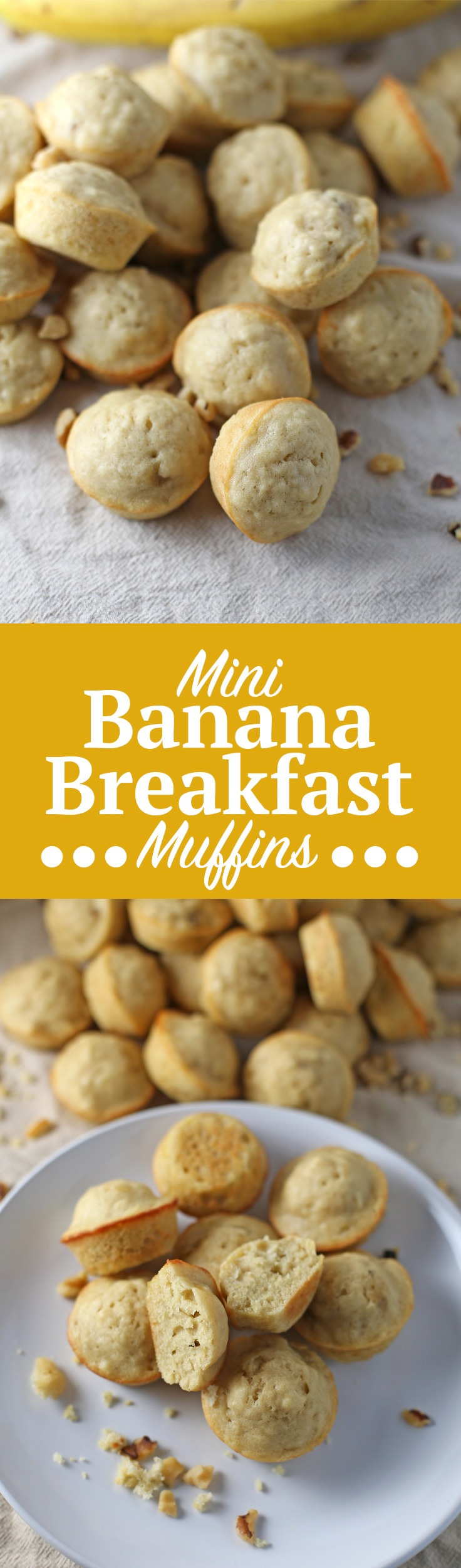 Mini Banana Breakfast Muffins. Super cute, quick and easy banana muffin recipe! These muffins are great for breakfast or as a snack and can be ready in no time. Grab the full recipe and link to your mini muffin tin by clicking through! | SeasonlyCreations.com | @SeasonlyBlog