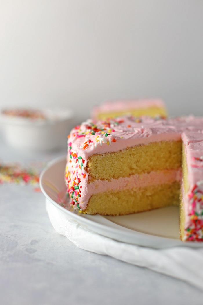 Yellow Birthday Cake With Fluffy Pink Frosting Celebrations Including My Own