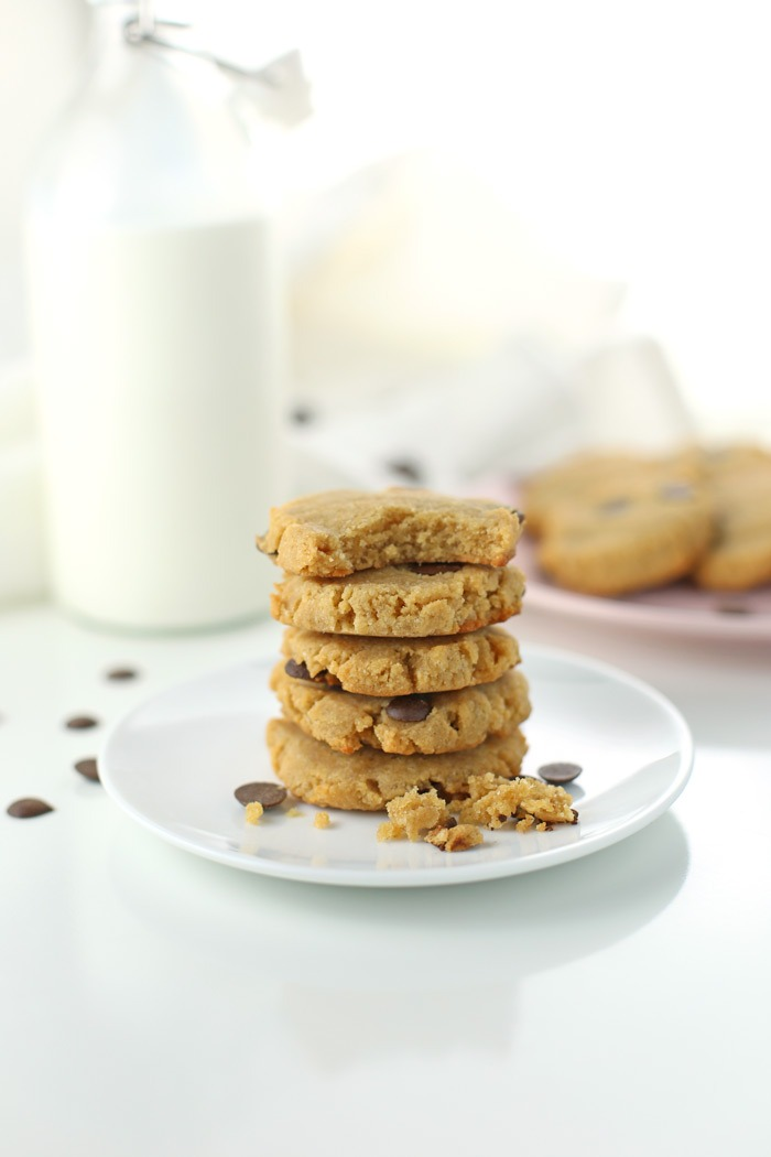 "Low Carb ""Chocolate"" Chip Cookies {Gluten-free, Keto-friendly}. Delicious, low carb cookie recipe, gluten-free and quick and easy! Only 112 calorie each and 6.1 NET CARBS. With a just a few specialty ingredients, this cookie recipe will become a favorite (it's also keto-friendly). Click through for the full recipe and equipment/ingredient list! 