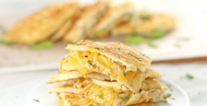 Low Carb Chicken and Cheese Quesadillas. Look out Cinco de Mayo, there's a new low carb quesadilla recipe in town! These Low Carb Chicken and Cheese Quesadillas are just 221 calories per serving and only 1.9g NET CARBS! Perfect if you're in need of a low carb chicken recipe or low carb appetizer recipe. Click through for the full list of specialty ingredients and the recipe! | SeasonlyCreations.com