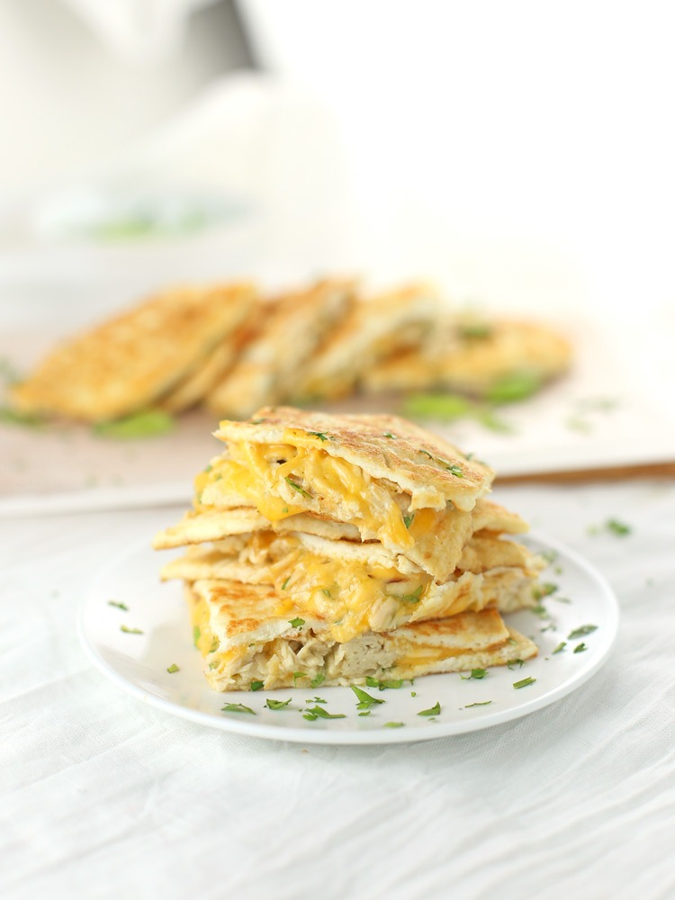 Low Carb Chicken and Cheese Quesadillas {Gluten-free, Keto-friendly}