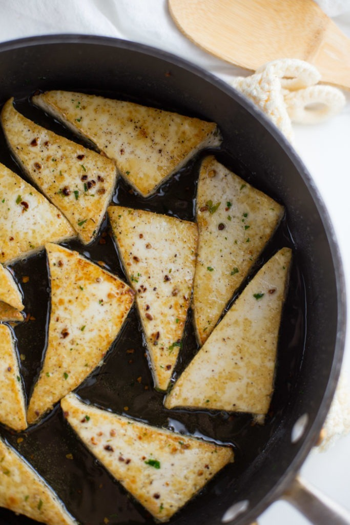Quick and Easy Garlic Skillet Tofu Triangles (Vegan Recipe)